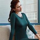 推Audrey-暖冬晨曦 長袖保暖衣(藍綠色)