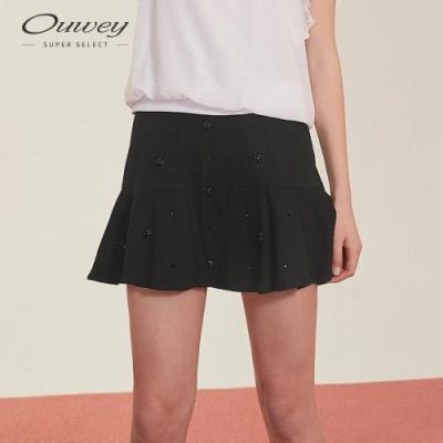 OUWEY歐薇 精緻縫飾蛋糕褲裙(黑)