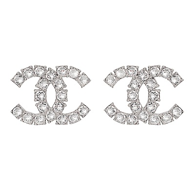 CHANEL香奈兒 經典雙C LOGO 方形排列鑲嵌j霧面水鑽銀色耳環