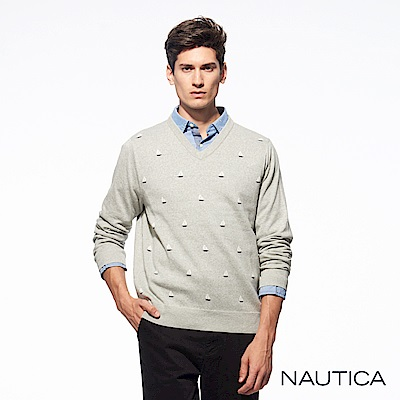 Nautica童趣帆船長袖針織衫-淺灰