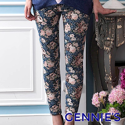 Gennies專櫃-花卉圖藤內刷毛一體成型貼腿長褲(藍)T4815