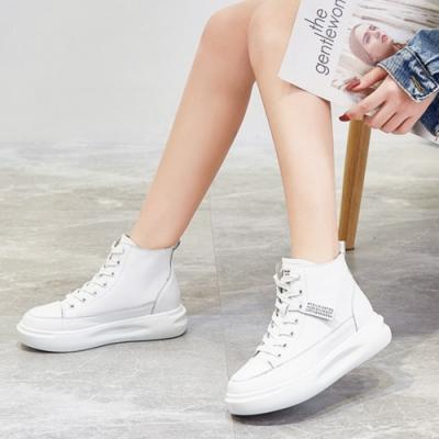 LN 現+預 韓版真皮織帶厚底高筒小白鞋-2色