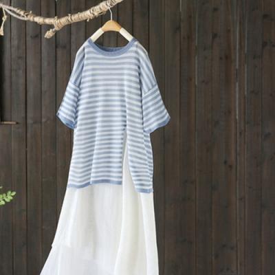 冰絲條紋圓領T恤寬鬆顯瘦薄版針織衫短袖上衣-設計所在