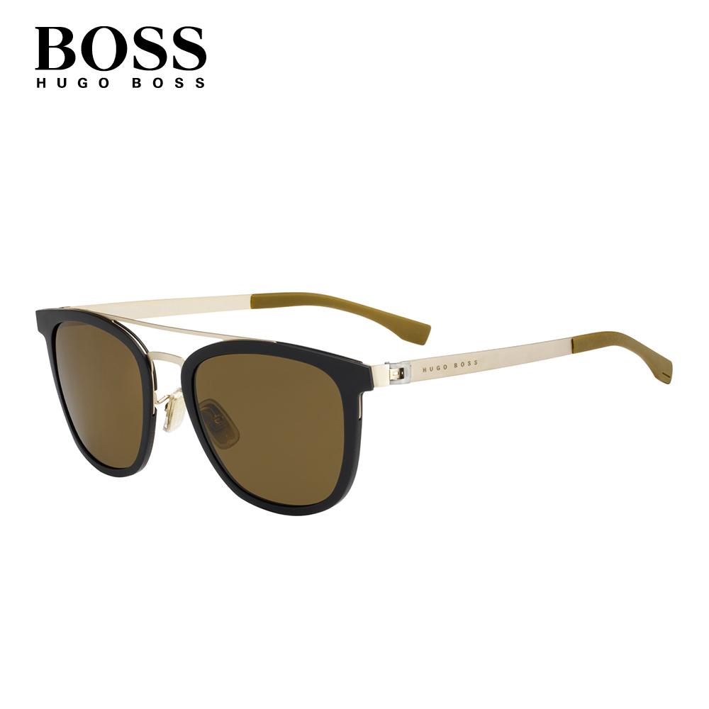 HUGO BOSS- BOSS 0861/F/S 復古眉框墨鏡 墨綠色