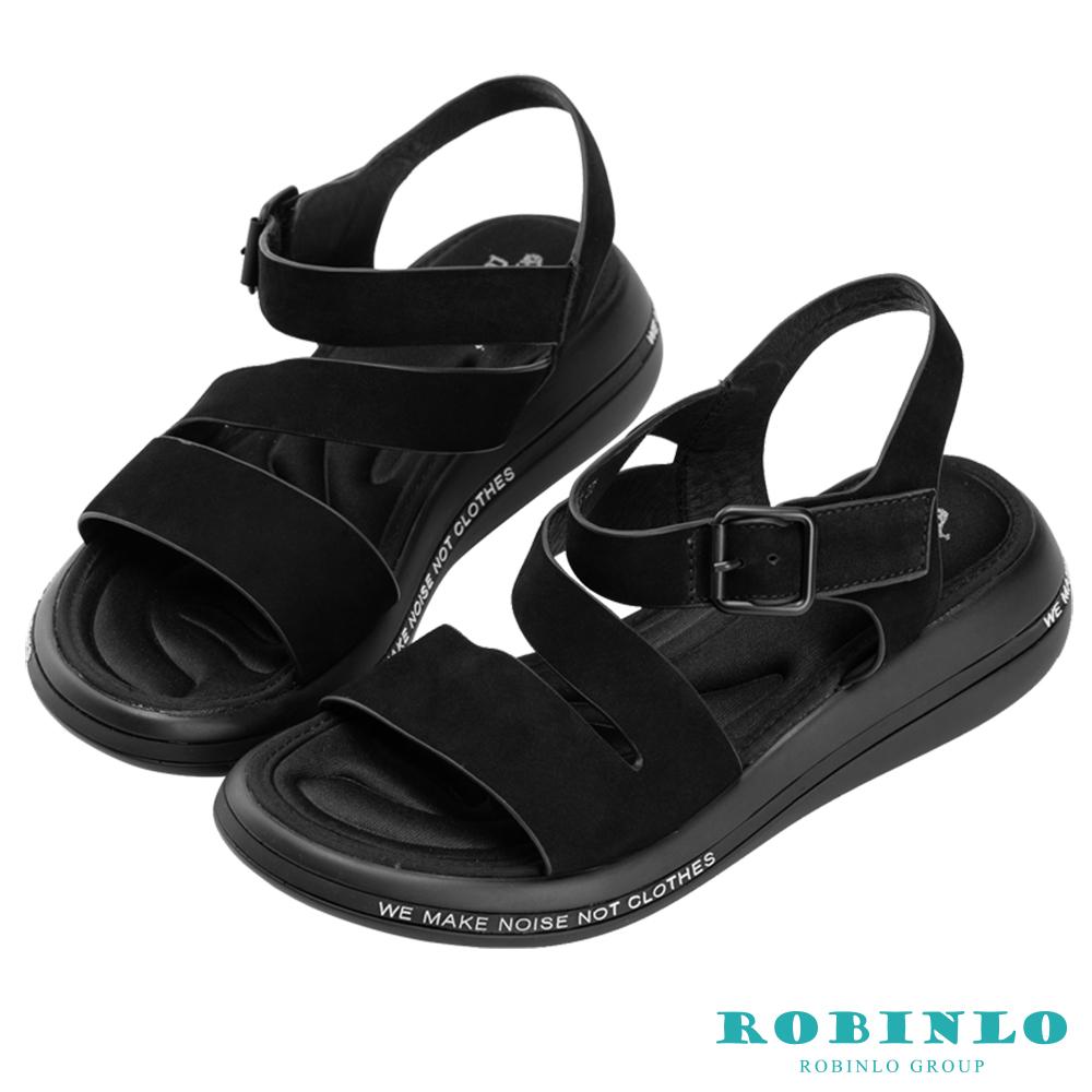 Robinlo 輕量動感牛皮彈力軟墊涼拖鞋 黑色
