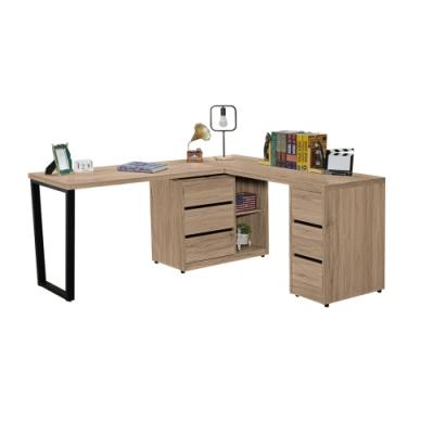 文創集 納多德 現代5.9尺六抽L型書桌/電腦桌-176-270x56-120x76.5cm免組