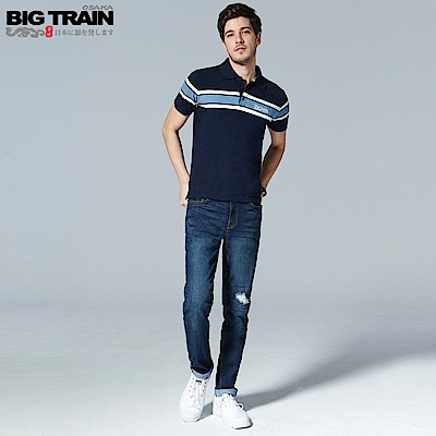 BigTrain吸濕排汗剪接補釘小直筒牛仔褲-男-深藍