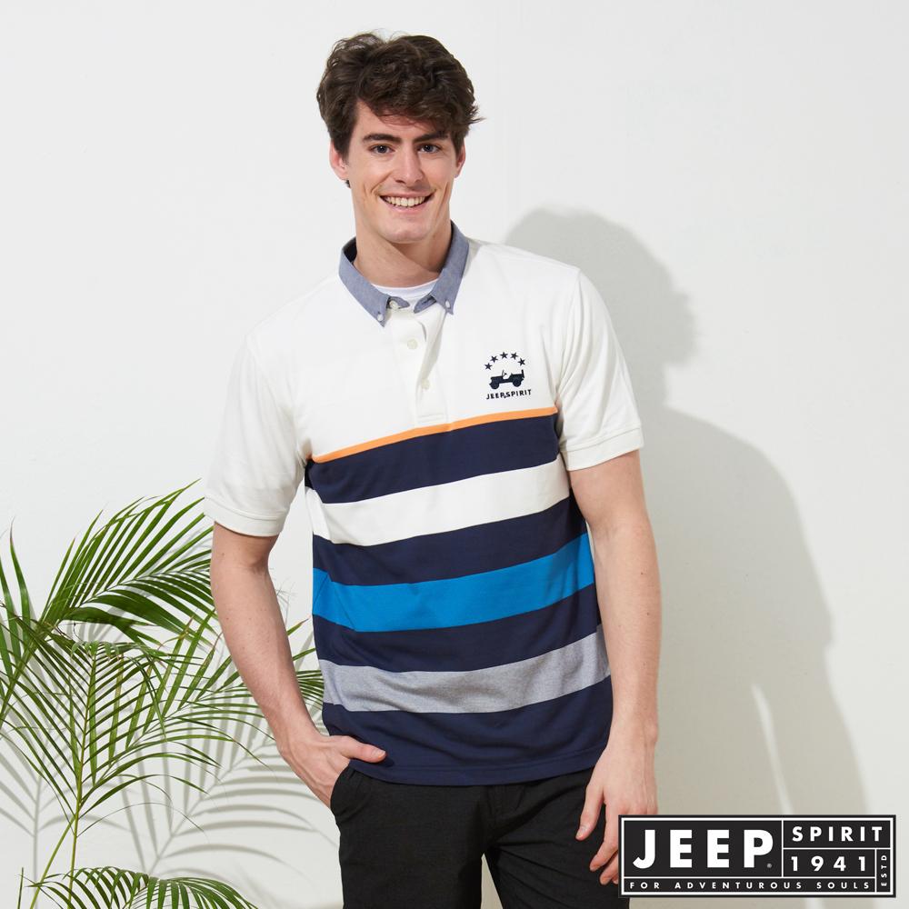 JEEP 條紋拼接短袖POLO衫-白色