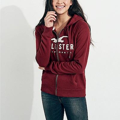 HCO Hollister 海鷗 經典刺繡大海鷗文字連帽外套(女)-酒紅色