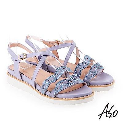 A.S.O 炫麗魅惑 亮麗璀璨平底涼拖鞋 淺紫