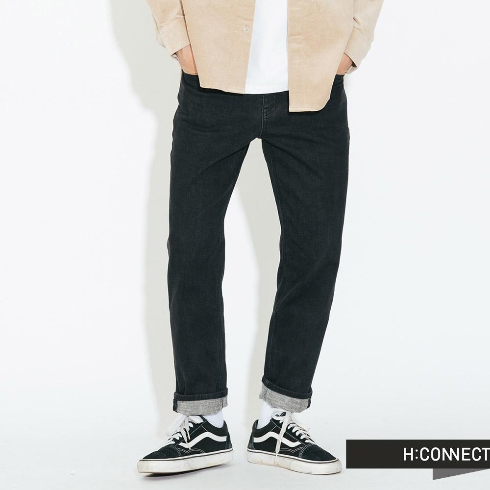 H:CONNECT 韓國品牌 男裝-復古刷色合身牛仔褲 - 深藍(快)