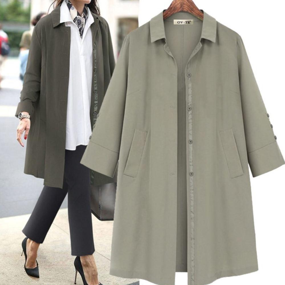 MOCO素色滾邊壓條袖三釦造型長版風衣排釦襯衫外套