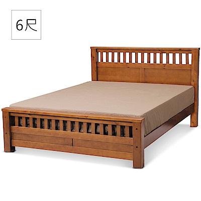凱曼 萊頓6尺雙人床(松木/實木板)