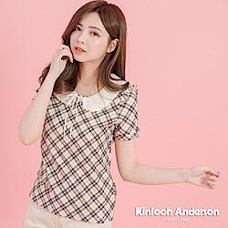 【Kinloch Anderson金安德森女裝】氣質格紋蕾絲領上衣