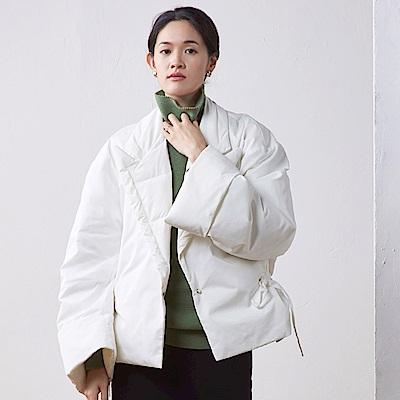 旅途原品_慕白_原創設計95白鴨絨oversize大翻駁領羽絨服外套-白色