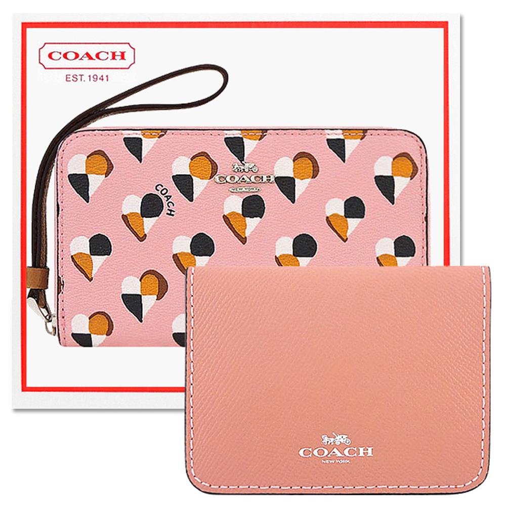 COACH 粉紅色愛心PVC拉鍊六卡中夾+COACH 粉紅色防刮皮革證件名片短夾COACH