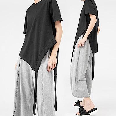 極簡抽繩造型綁帶素棉上衣-(共二色)Andstyle