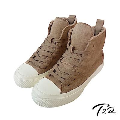 【T2R】內鋪毛氣墊增高高筒拼接帆布鞋-棕-增高6cm