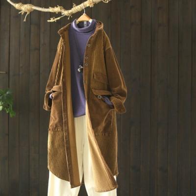 滿滿的細節感中長版燈芯絨風衣外套-設計所在
