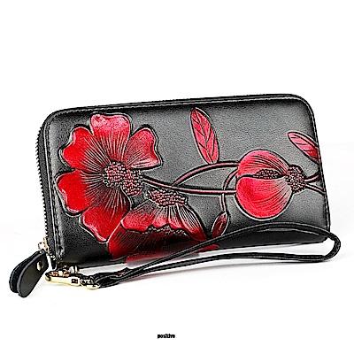 GT0907BK真皮個性潮流帶拉鍊女長夾手拿包錢包黑色