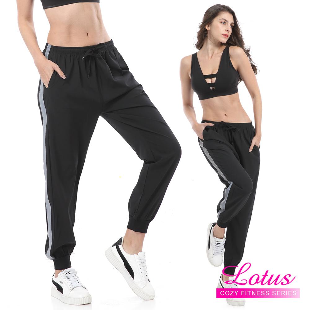 運動褲 夜跑反光舒適運動束口長褲 顯瘦黑 LOTUS