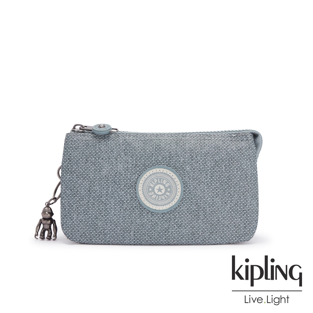 Kipling 個性淺灰藍三夾層配件包-CREATIVITY L