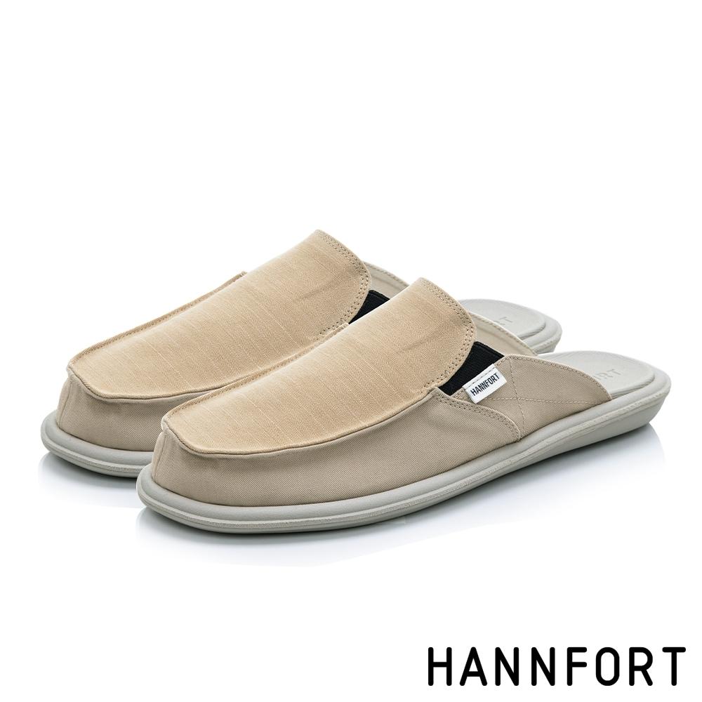 HANNFORT COZY可機洗百搭帆布氣墊拖鞋-男-卡其