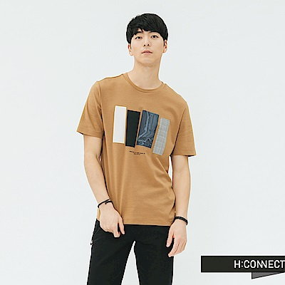 H:CONNECT 韓國品牌 男裝-色塊造型圓領T-shirt-棕