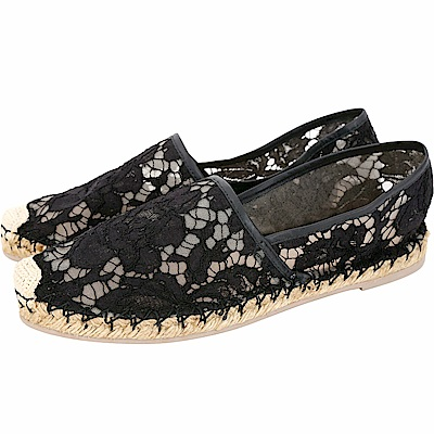 VALENTINO Garavani Lace 蕾絲草編休閒鞋(黑色)