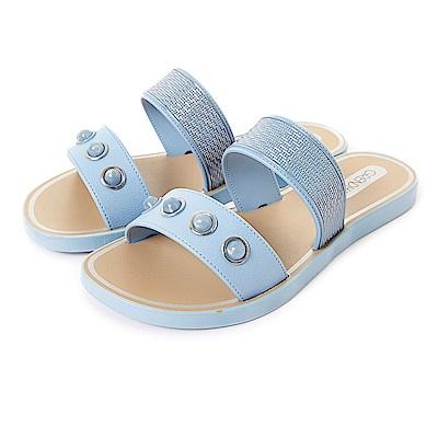 Grendha 可愛寶石時尚休閒風拖鞋-粉藍/銀