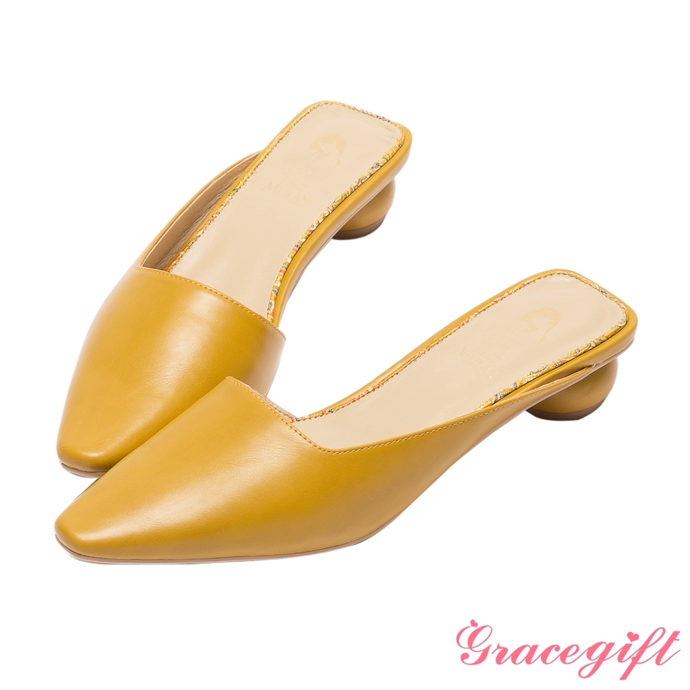 Disney collection by grace gift-花木蘭微方頭穆勒圓跟跟鞋 深黃