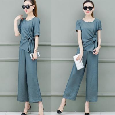 【韓國K.W.】時尚潮流樂活舒適迷人純色套裝-2色