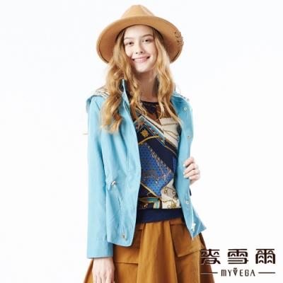 【麥雪爾】俐落率性格紋連帽鬆緊腰外套-水藍