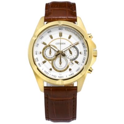CITIZEN 三眼計時 礦石強化玻璃 日期 日本機芯 真皮手錶-白x金x咖啡/43mm