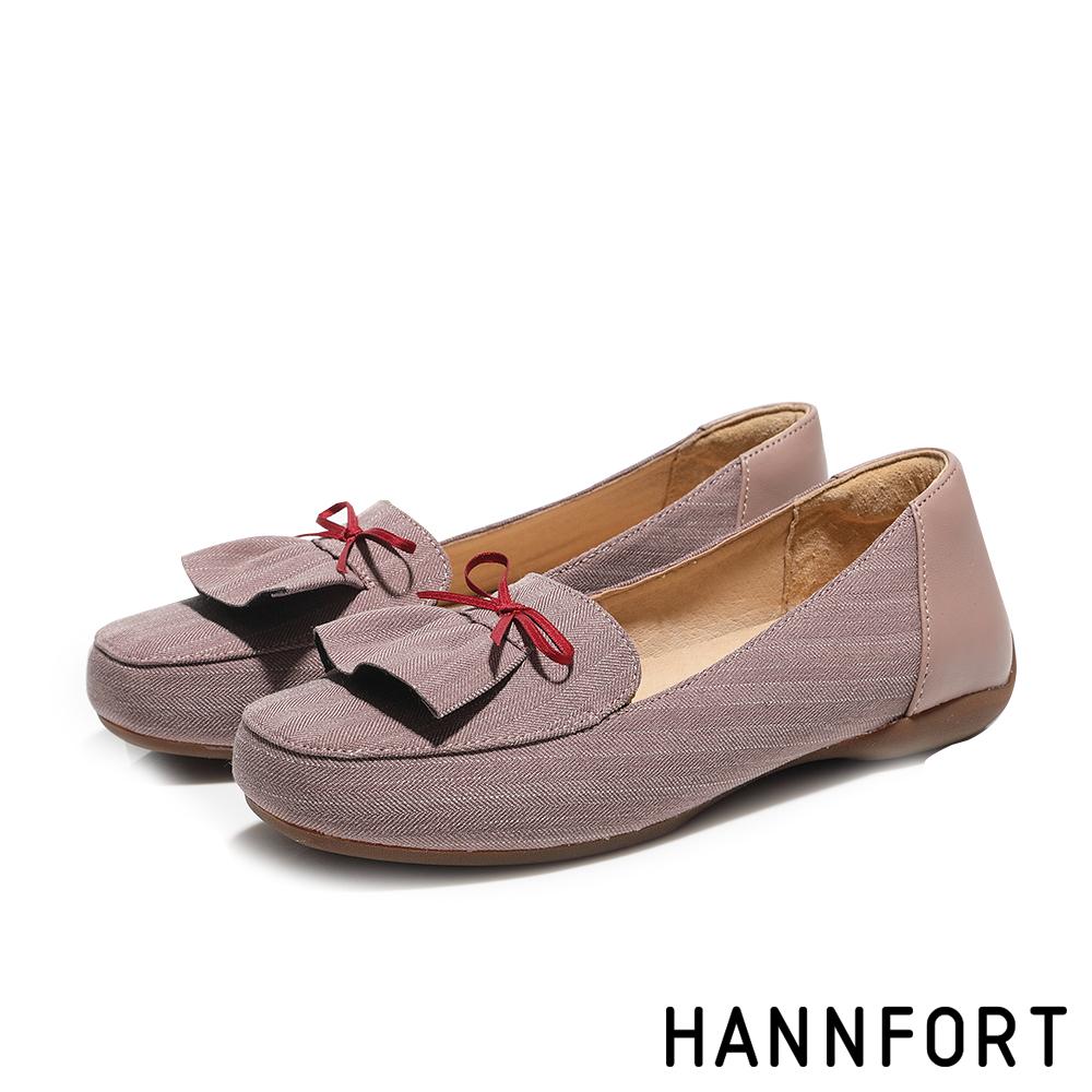 HANNFORT RIPPLE裙襬搖搖蝴蝶結淑女鞋-女-芋藕粉