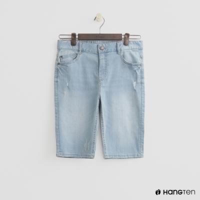 Hang Ten-童裝-簡約牛仔短褲-淺藍