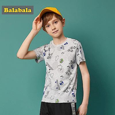 Balabala巴拉巴拉-街頭滑板少年印花短袖T恤-男(2色)