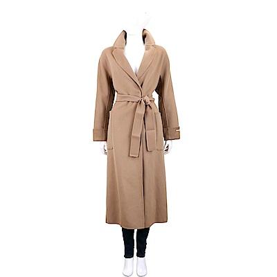 Max Mara-'S Max Mara 口袋設計駝色繫帶切斯特純羊絨大衣