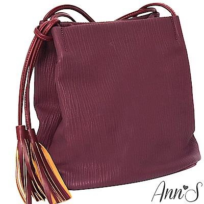Ann'S文青植物紋皮革氣質流蘇肩背包-暗紅