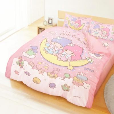 享夢城堡 雙人加大床包兩用被套四件組-雙星仙子Little Twin Stars 月光童話-粉