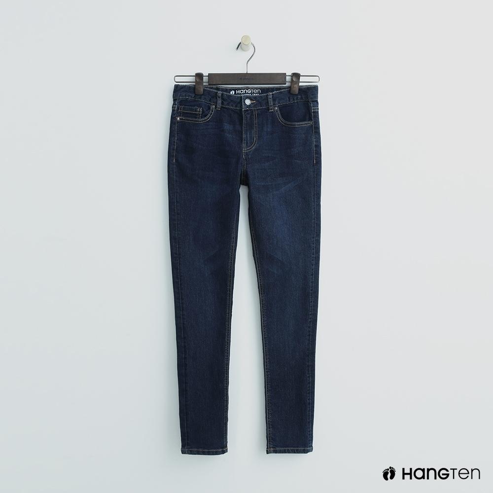 Hang Ten-女裝-簡約素面修身牛仔窄褲-深藍