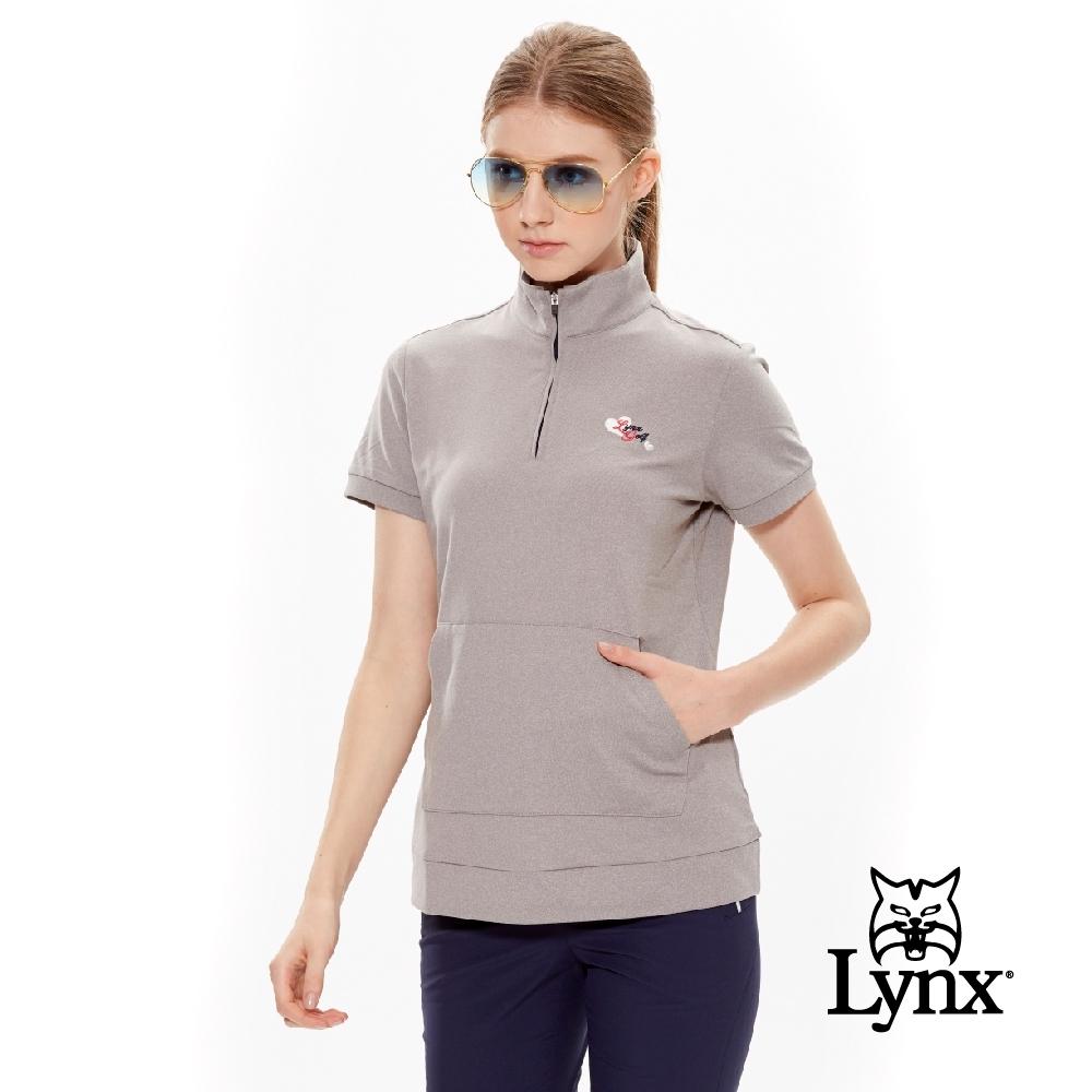 【Lynx Golf】女款內刷毛俏皮帽T口袋款短袖立領POLO衫-灰色