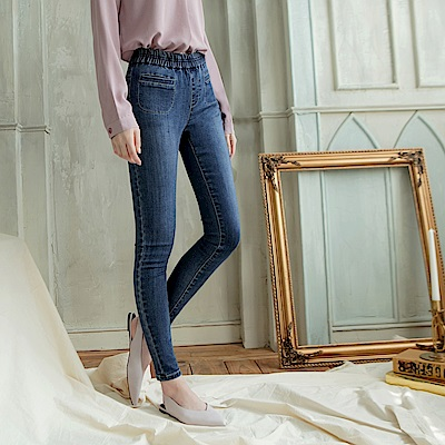 腰圍鬆緊口袋設計彈力修身窄管褲-OB大尺碼
