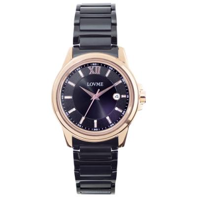 LOVME 經典型男風格時尚手錶-IP玫x黑x黑帶/42mm