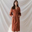 AIR SPACE LADY 法式優雅V領排釦長袖洋裝(紅棕)