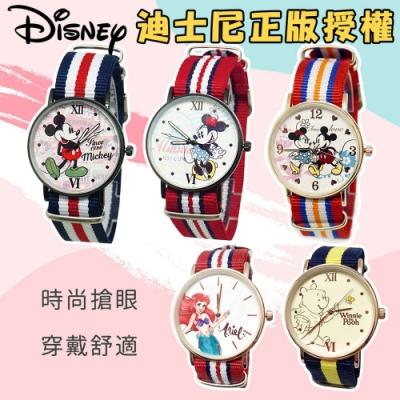 DF 童趣館 - 迪士尼經典玫瑰金超薄時尚織帶錶