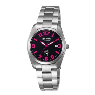 LICORNE 恩萃 Entree 簡約時尚設計都市腕錶-黑x桃紅/36mm