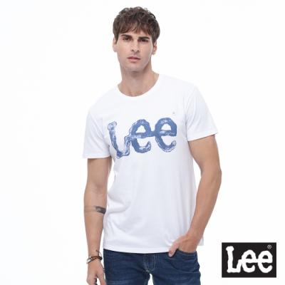 Lee 短T 水彩大LOGO文字 圓領 男 白