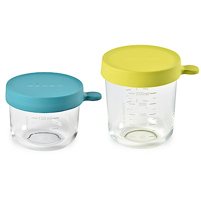 奇哥 BEABA 玻璃副食品儲存罐(藍150ml+綠250ml)