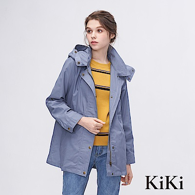 KiKi INLook 輕薄休閒連帽中長版排釦外套(淺藍色)